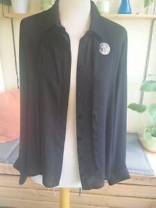 Damen-Bluse-schwarz-Gr-40-Kellner-Bluse-NEU