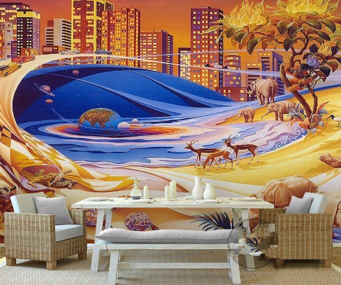 3D Città, animali Parete Murale Foto Carta da parati immagine sfondo muro stampa