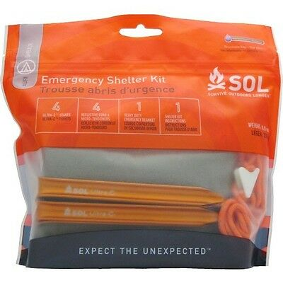 SOL Emergency Shelter Kit by Adventure Medical Kits - Tarp, Tent Stakes, Rope