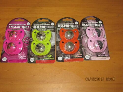 BPA free-orthodontic 0-6months, New Realtree /& Mossy oak Camouflage Pacifiers