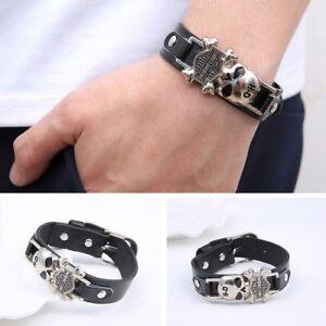 Image Is Loading Harley Davidson Black Leather Cuff Bracelet Biker Skull