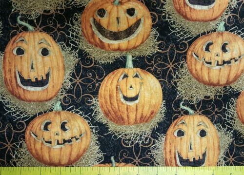 Halloween Reflection Pumpkin on Black 100/% cotton fabric by the yard