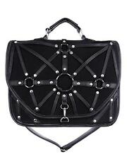 Black O-Ring Harness Satchel Hand Bag Purse Goth Briefcase Punk Alternative Emo