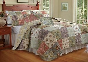 BEAUTIFUL XXL OVERSIZED IVORY GREEN BLUE VINTAGE FLORAL BEDSPREAD QUILT SET KING