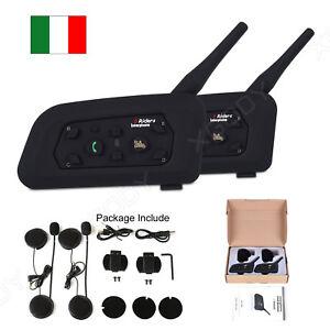 2x-Bluetooth-Moto-Casco-Interfono-Cuffie-Auricolari-6-Ciclista-1200M-Citofono