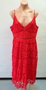 💜 BOOHOO Cocktail Lace Strappy Sheath Midi Dress Red Size 18 Buy7=FreePost L779