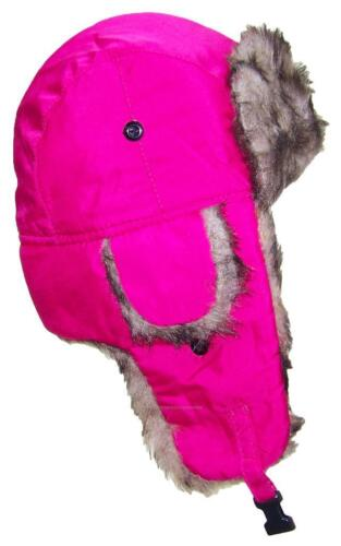 Toddler Soft Nylon Russian//Trapper Winter Ear Flap Hat Ski Toboggan #193 Pink