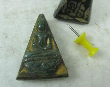 raro vecchio JADE Buddha Amuleto con 19 Madreperla Intarsio Tailandia circa 1965