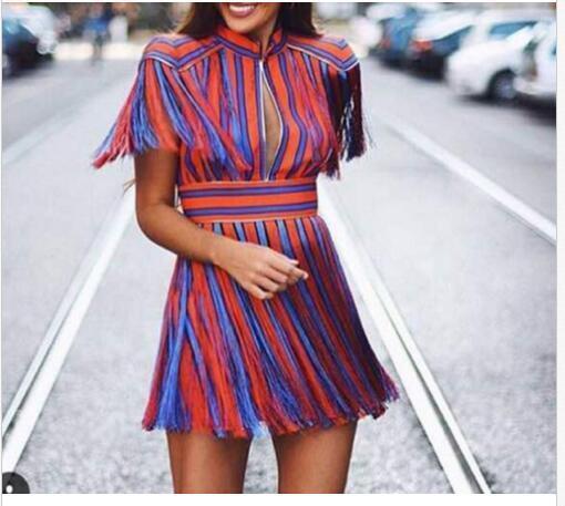 2019 2019 2019 new summer dress ladies temperament hit color heavy tassels Stripe Dress 56765b