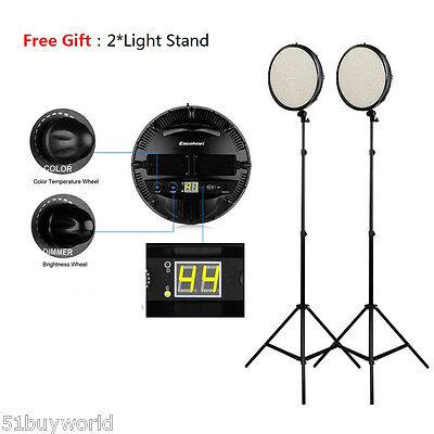 Excelvan 800 LED Studio Video Light Kit 3200K-5500K + 2.1m Lighting Stand Tripod