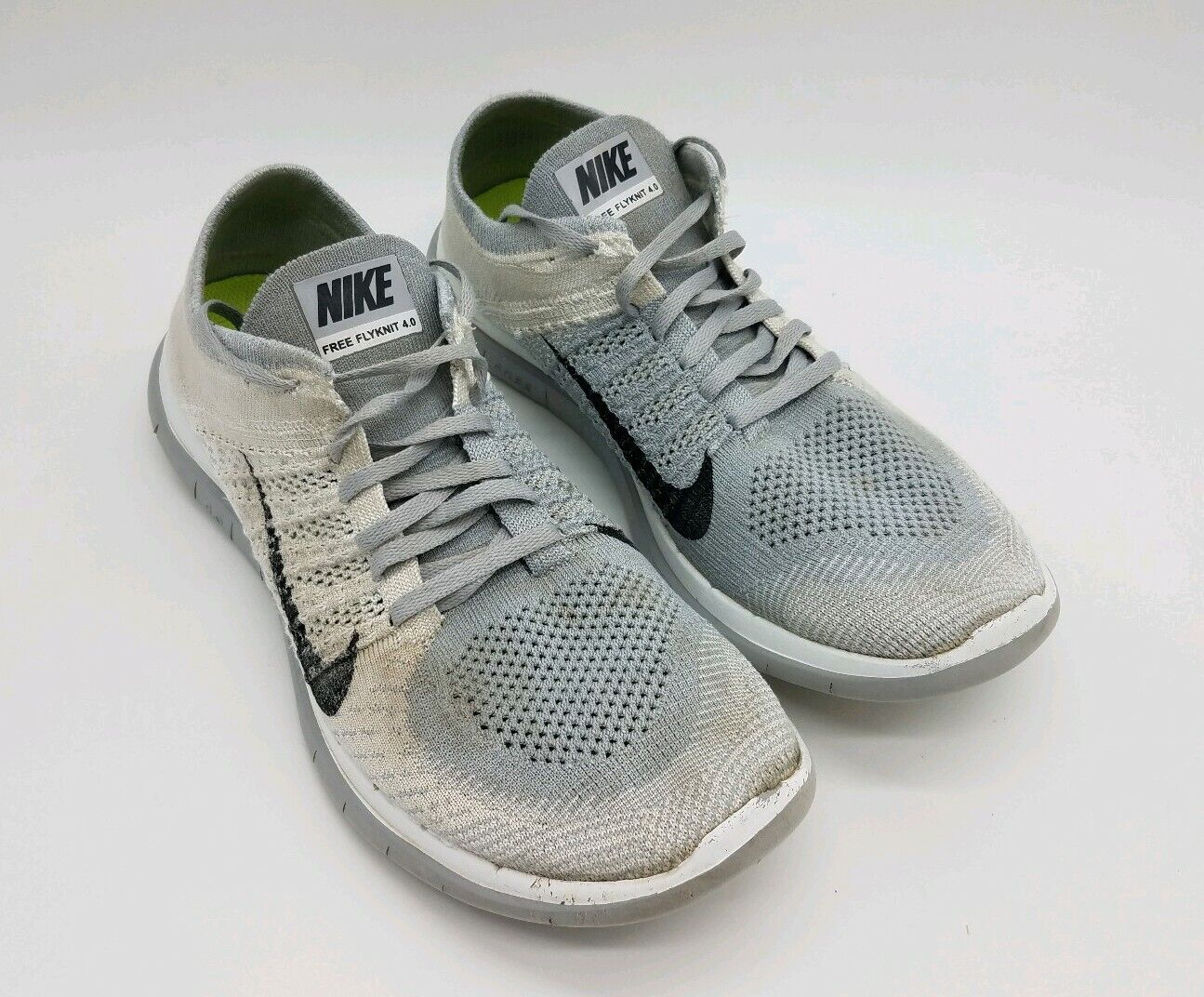 Nike Free 4.0 Flyknit Men's Shoes Silver Black White 631053 101 Size 10.5