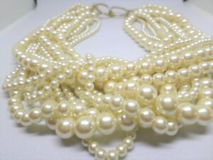 Vintage-12-Strand-Faux-Pearl-Necklace-17-034-Length-Gold-Toned-Metal-Circle-Catch
