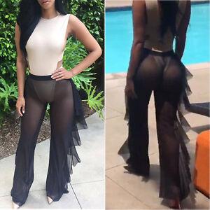 5e29640e3d Women Beach Mesh Sheer Bikini Cover Up Swimwear Bathing Long Pant ...