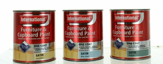 International Furniture & Cupboard Paint Satin One Coat TEFLON 750ml 3  Colours