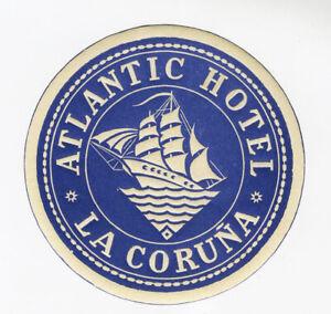 Antique-Label-Suitcase-Atlantic-Hotel-La-Coruna-Old-Luggage-Label