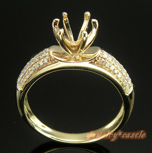 ROUND CUT SOLID 14K YELLOW gold DIAMOND SEMI-MOUNT RING SETTING 6 PRONG RING
