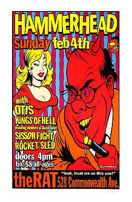 Hammerhead Otis 1996 Original Concert Promo Poster Uncle Charlie Art S/N