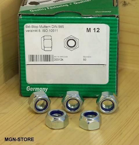 DIN 985 50 Stopmuttern Stop-Muttern M12 verzinkt 8