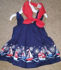 ee48a0ca6e8 Polkatots Baby Girl 6-9M PATRIOTIC Sundress headb Red White Blue ...