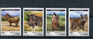 Niger 2015 MNH Warthogs 4v Set Wild Animals Fauna Common Warthog Stamps