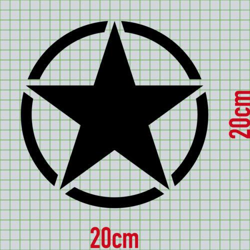 20 cm Mat Noir USA US étoile VOITURE JEEP Autocollant Tatouage Film des autocollants