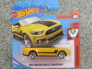 Hot-Wheels-2018-168-365-2015-Ford-Mustang-Gt-Convertible-Amarillo-Muscle-Mania
