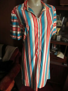 sz-8-10-True-Vtg-70s-STRETCH-NYLON-BLUE-red-STRIPE-zipfront-JERSEY-SLINKY-DRESS