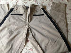 MORGAN-pantalon-femme-coton-beige-couture-noire-Taille-38