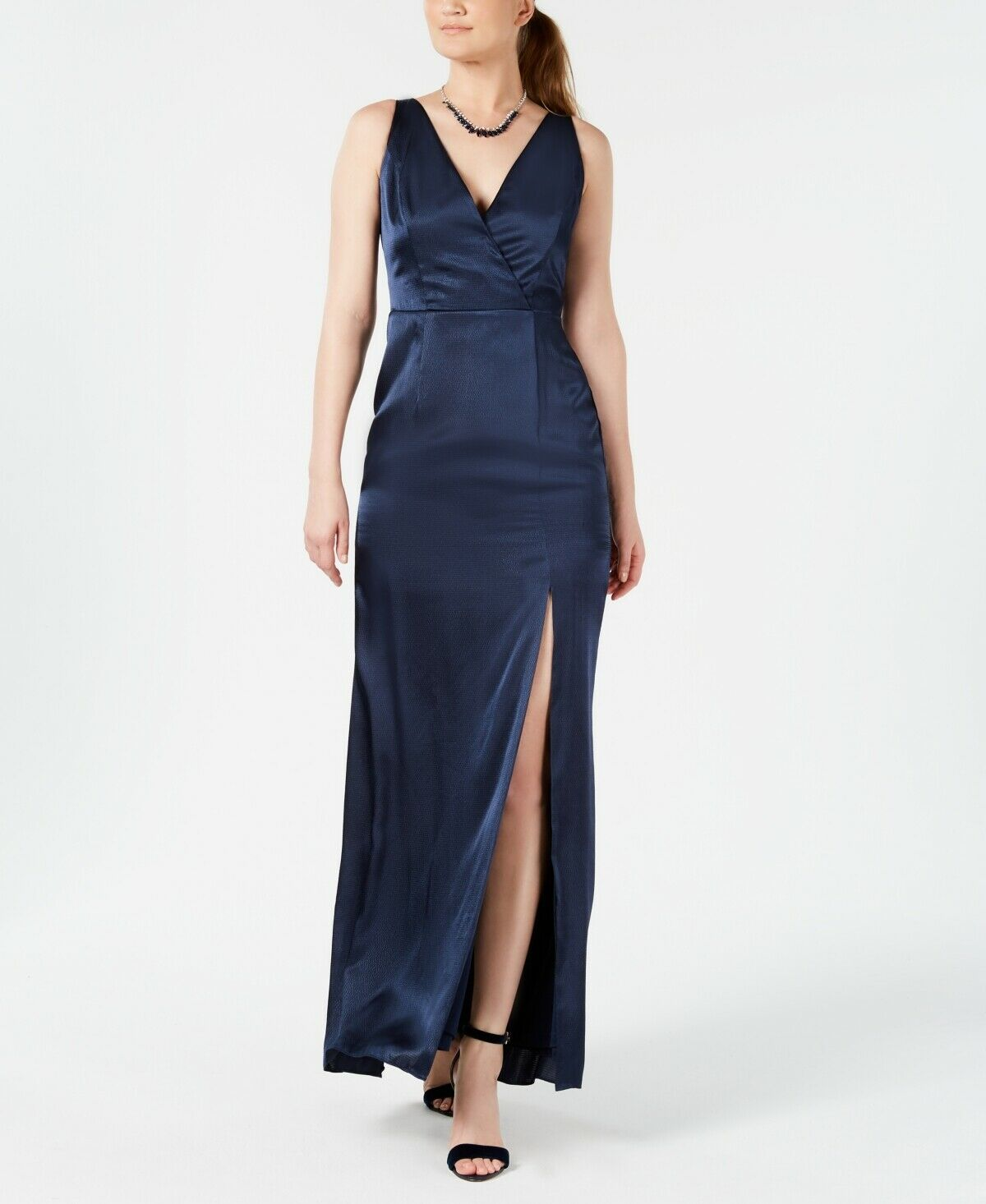 NEW  ADRIANNA PAPELL damen Blau SATIN SLEEVELESS GOWN FORMAL DRESS Größe 12