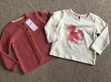 M&S Marks & Spencer Baby Girls Squirrel Top And Matching Cardigan 12-18 Months