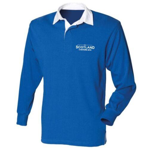100/% Scotland Six Nations 2019 Mens Rugby Shirt Long Sleeve