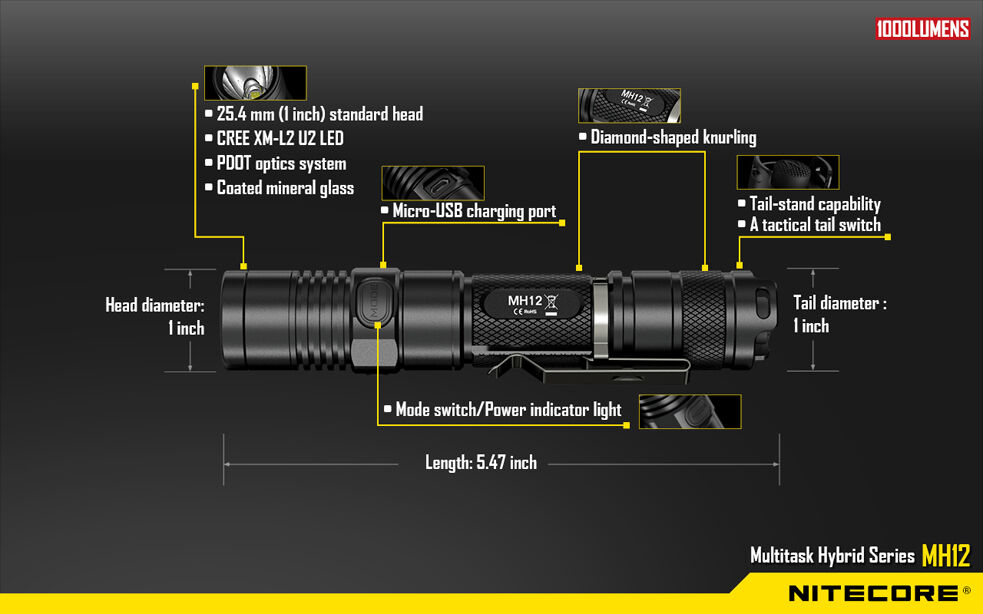 Nitecore MH12 Rechargeable U2 Flashlight 1000 Lumens XM-L2 U2 Rechargeable - Battery Included 9e0481