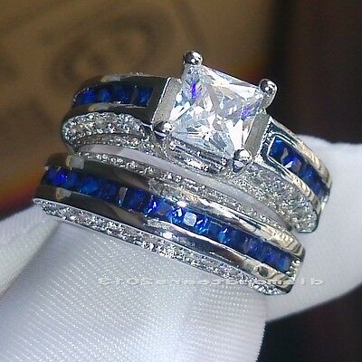 Size 6-10 Princess Luxury 10kt white gold filled blue sapphire Wedding Ring gift