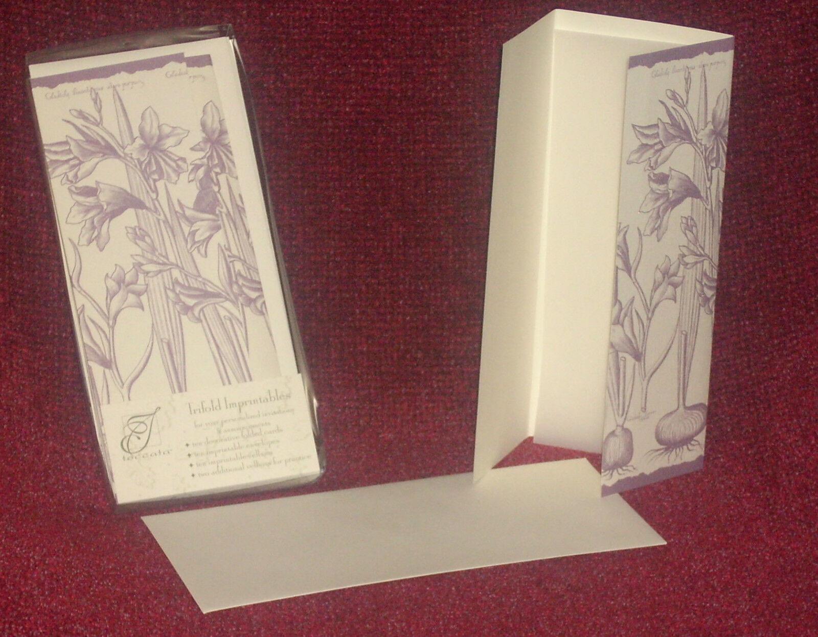 Nouveau 120 Trifold annonce mariage invitation brochure Toccata enveloppes NEW IN BOX