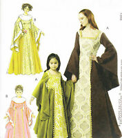 Pattern Renaissance Dress Adult S-xl Or Girl 3-8 Medieval M6376 Lined Misses