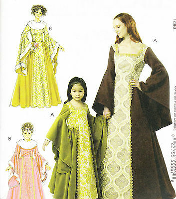 PATTERN Renaissance DRESS adult S-XL or girl 3-8 medieval m6376 lined NEW misses