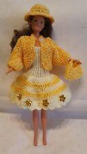 Puppenkleidung passend für Barbiepuppe Kleid,Jacke,Tasche+ Hut Handarbeit 6080