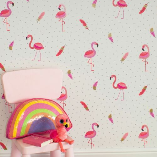 BE DAZZLED FLAMAZING FLAMINGO WALLPAPER PINK WHITE COLOROLL M1424 SPARKLE