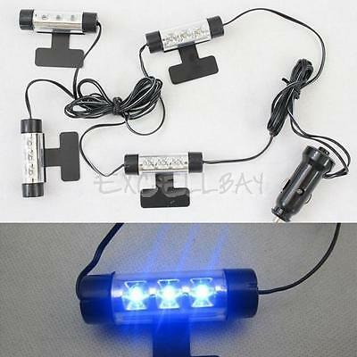 4x 3 LED Car Charge 12V Auto Interior Decorative 4in1 Atmosphere Light Lamp Blue