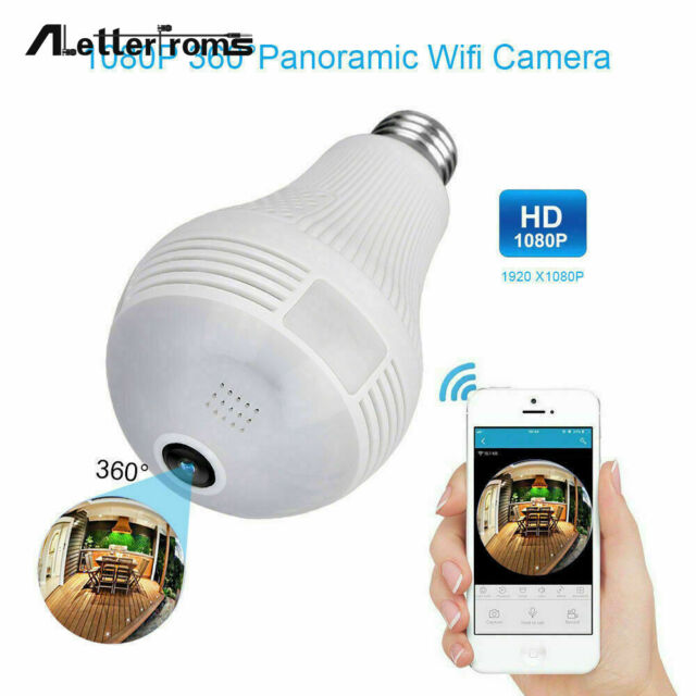 360° Panoramic HD 1080P WiFi Wireless Fisheye Hidden Bulb Light Spy Camera Lamps