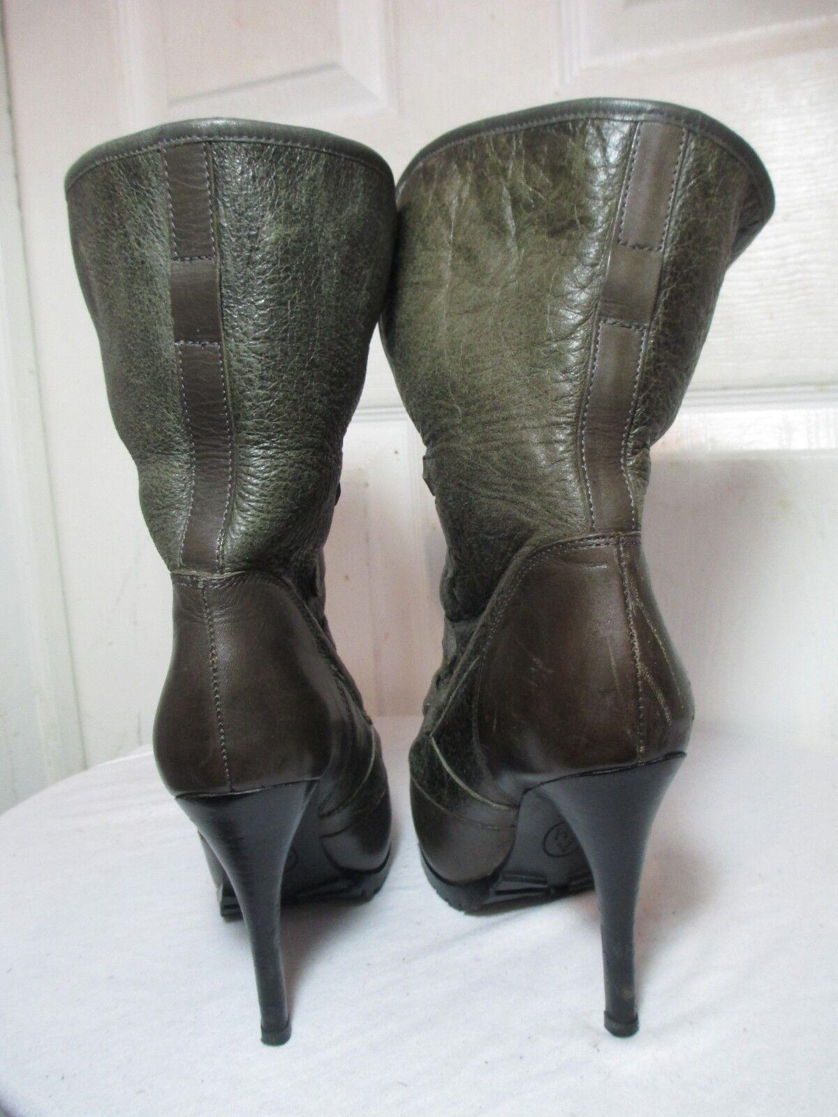 Hebilla de Cuero verde verde verde ceniza Cuffable Shearling botas al Tobillo Plataforma Talón 37 EE. UU. 7 f3bad3
