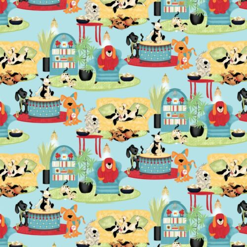 Fabric Dogs in the House on Teal Green Cotton Large Print by the 1//4 yard