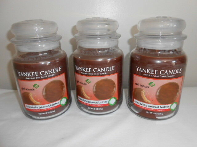 3 YANKEE CANDLE CHOCOLATE PEANUT BUTTER JAR CANDLE 22 OZ LARGE GIRL SCOUT COOKIE