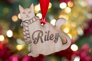 Personalised wooden cat christmas bauble xmas tree decoration pet image is loading personalised wooden cat christmas bauble xmas tree decoration negle Choice Image