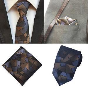 Men-Blue-Brown-Checks-Silk-Necktie-Ties-Pocket-Square-Handkerchief-Lot-HZ147