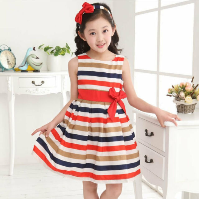 Baby Girl's Dress Kids Clothes Summer Dresses For Little Girl Stripes 3-8 Years