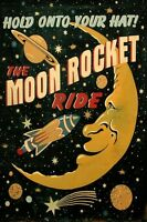 Moon Saturn Comet Rocket Spaceship Travel Space Vintage Poster Repro Free Ship