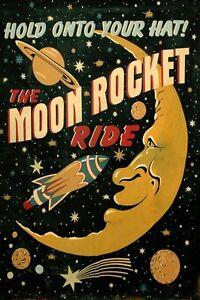 Moon-Saturn-Comet-Rocket-Spaceship-Travel-Space-Vintage-Poster-Repro-FREE-SHIP