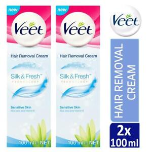 2 X Veet Silk Fresh 5 Minute Hair Removal Cream 100ml For