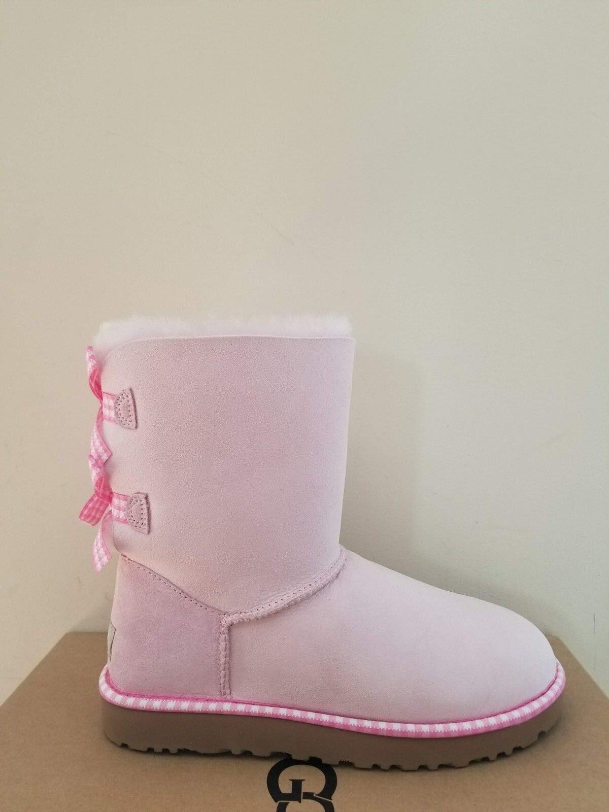 Ugg Ausztrália Női Bailey Bow Gingham Boots mérete 6 NIB